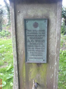 The plaque dedicated to the memory of Archie Willis, located in Barham Church cemetery