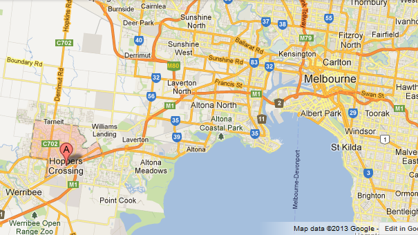 Map showing Hopper's Crossing in relation to the city of Melbourne